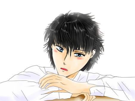 Boy looking at black hair