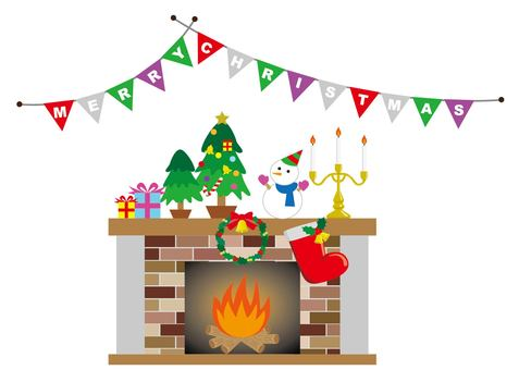 Christmas and fireplace and banner (color difference)