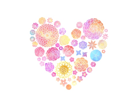 Heart floral print