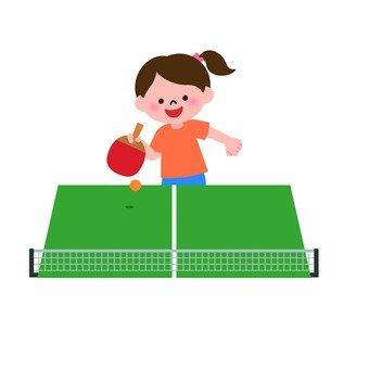Girls playing table tennis