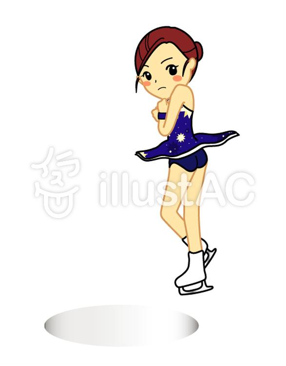 フィギュアスケート女子ジャンプイラスト No 1050621無料イラスト
