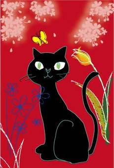 Black Cat and Flower