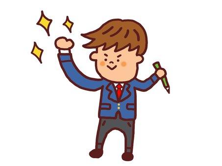 Male student raising fist