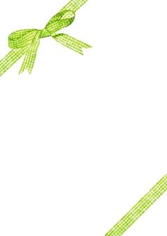 Yellow green check ribbon watercolor - diagonal vertical