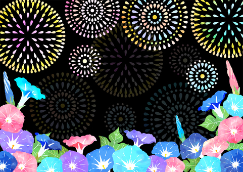 Watercolor fireworks and morning glory background