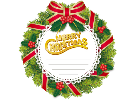 Christmas wreath _ memo _ red