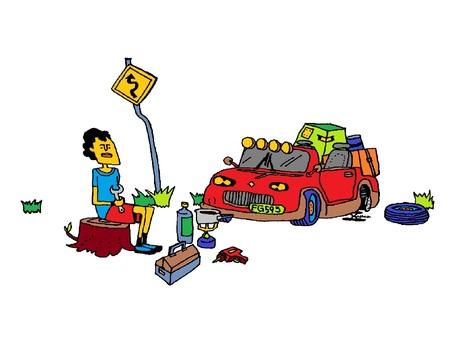 タイヤを修理する男