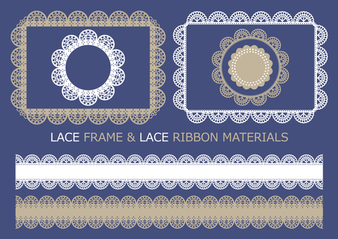 Lace frame & ribbon material 2