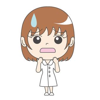 Nurse A: Front: troubled face: sweat