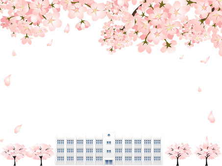 Cherry blossoms and school building frame frame