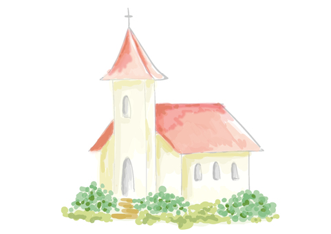 Red roof church chapel watercolor