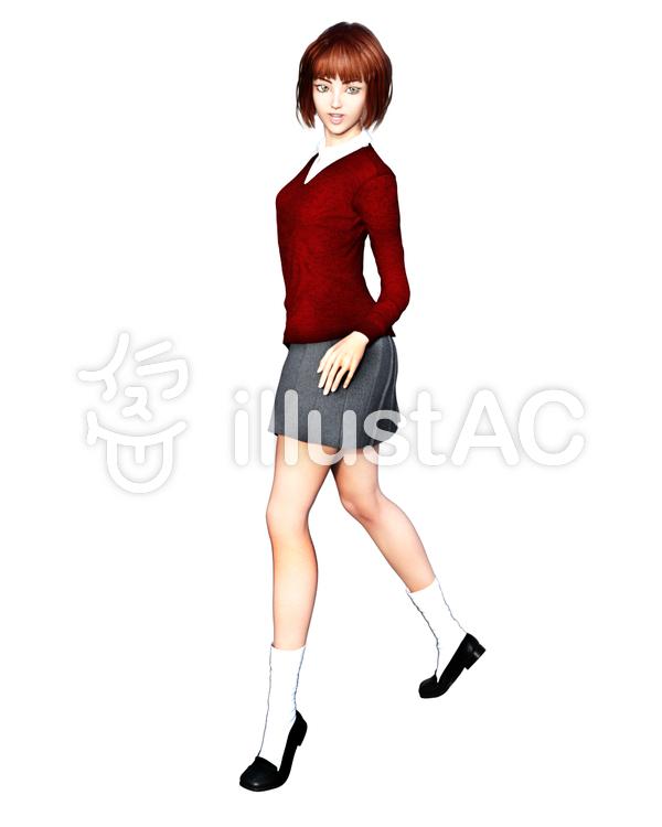 女子高生 ポーズAのイラスト