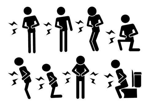 胃痛者象形圖