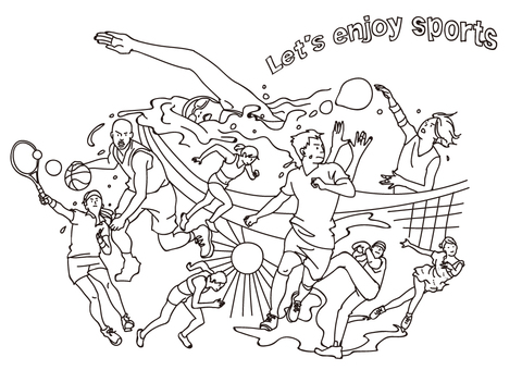 スポーツの集合イラストセット(線画)