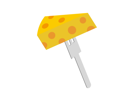 Illustration material of cheese and fork