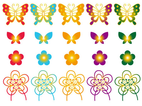Japanese pattern of butterfly and flower