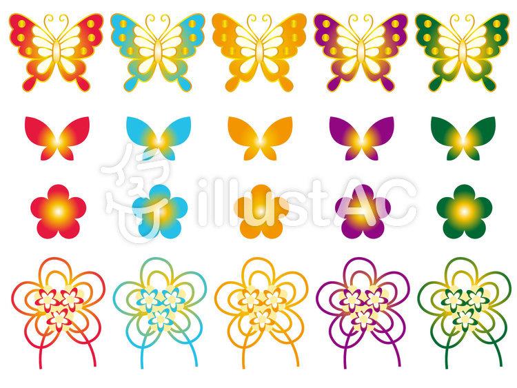 蝶と花の和柄イラスト No 114750無料イラストならイラストac
