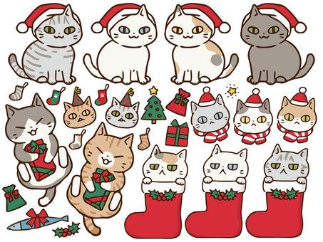 手描き猫クリスマスセット