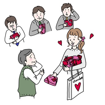Male employees who rejoice with girls who distribute chocolate