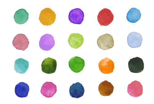 Watercolor polka dots-4