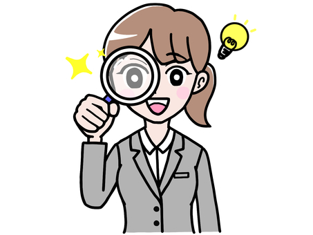 Full-fledged suit woman discovered with a magnifying glass