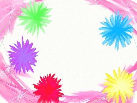 カラフルなお花のフレーム
