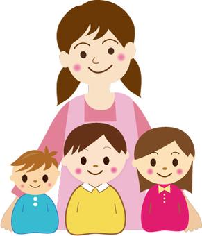 Teacher and 3 children