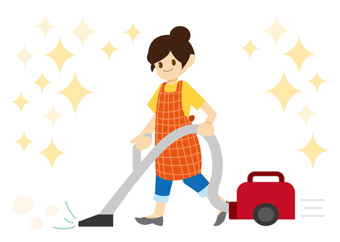 A woman cleaning a vacuum cleaner