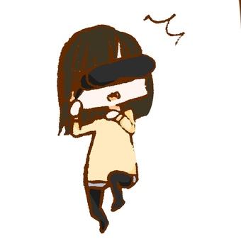 Surprised girl in VR