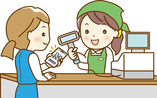 Woman to make a smartphone payment 02