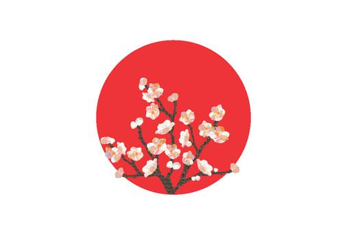 Hinomaru and plum