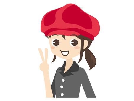 B007 _ Casket hat shop assistant woman