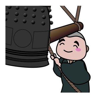 A monk hitting a bell bell