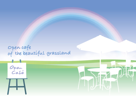 Rainbow meadow open cafe message card