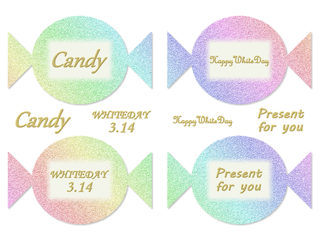 White day candy card rainbow color