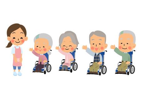 Elderly wheelchair set