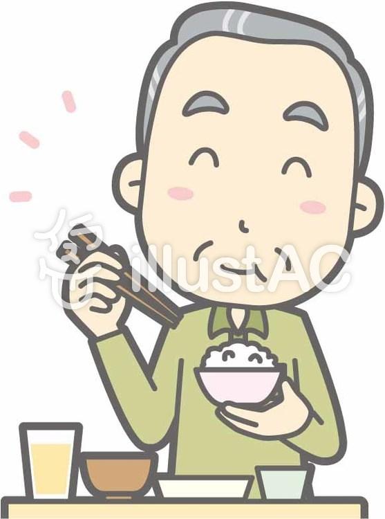 老人男性d-おいしい和食-バストのイラスト