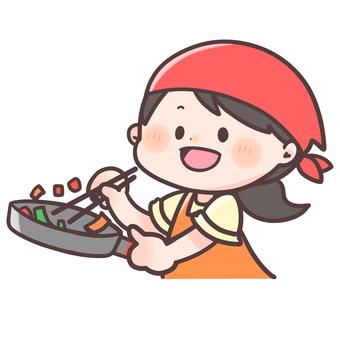 A woman making a dish