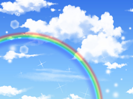 A rainbow in the blue sky