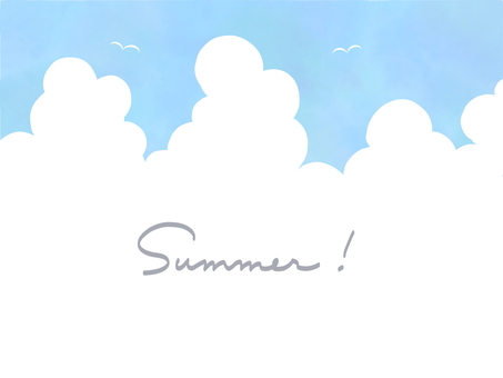 Watercolor summer sky frame