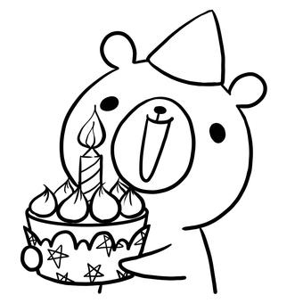 Birthday birthday cake bear line drawing