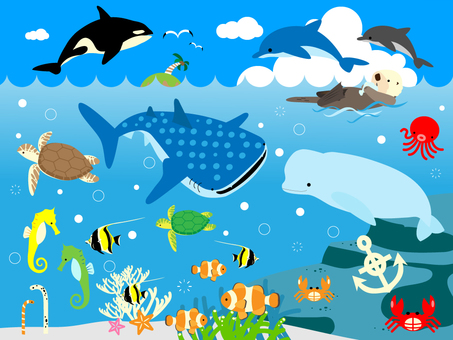 Sea creatures set (with background)
