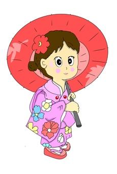 Umbrella in Japanese clothes
