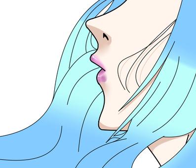 """Beautiful woman's mouth """"light blue"""""""