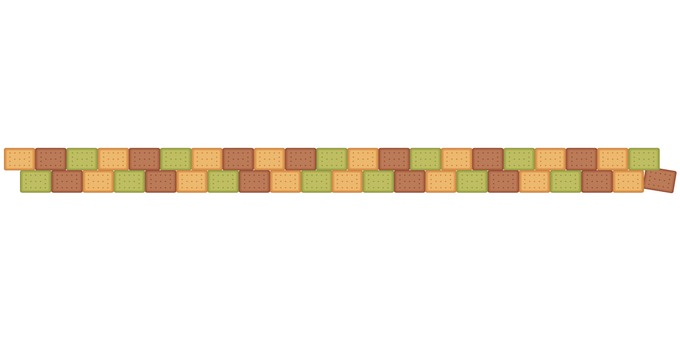 3-color biscuit border: cocoa matcha