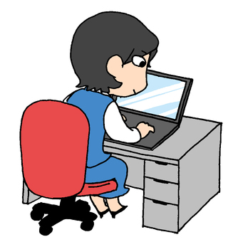 Woman working PC at desk
