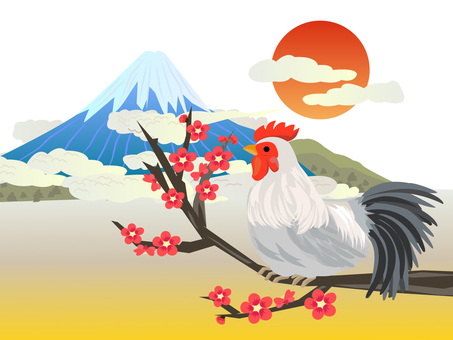 Rooster year Mt. Fuji and plum and chicken