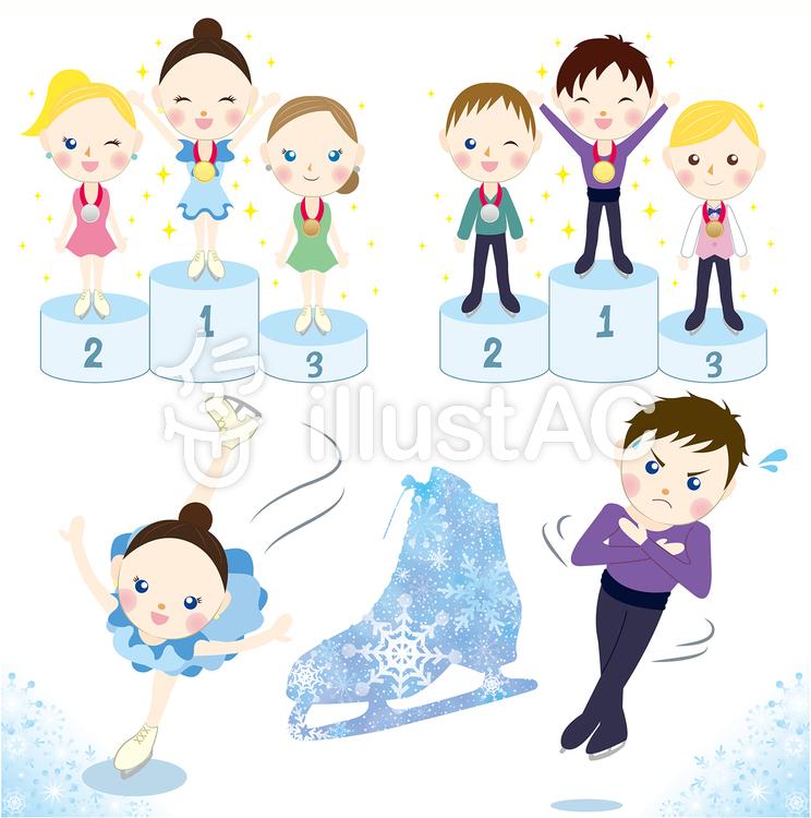 フィギュアスケートセットイラスト No 1039863無料イラストなら