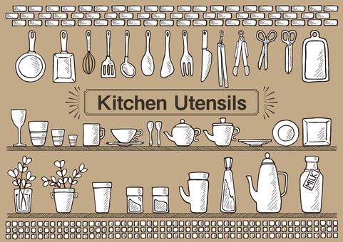 キッチン道具(手描き)塗り面あり