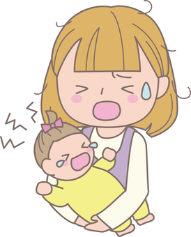 Baby crying and troubled mother